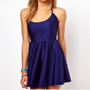 American Apparel navy blue halter skater dress